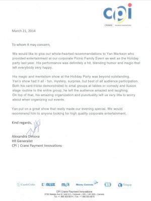 CRANE reference letter for Mentalist Yan Markson